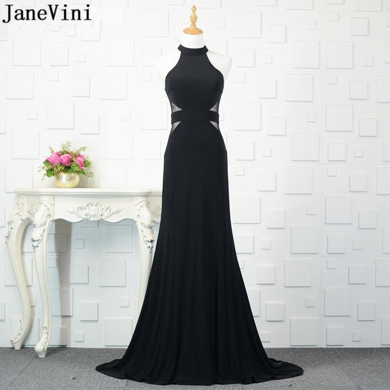 JaneVini 2019 Sexy Black Satin Long   Bridesmaid     Dresses   High Neck Sleeveless Illusion Mermaid Sweep Train Women Simple Prom Gowns