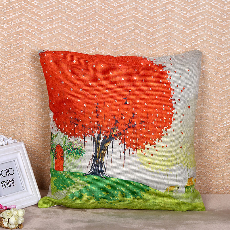 Flax Pillow Case Cushion Cover Tree of Life Throw Cover Home Decorative Art Throw Pillow Case On Car Couch House F