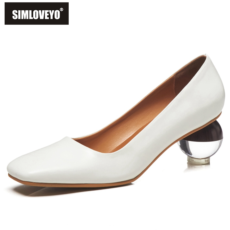 SIMLOVEYO Women genuine leather shoes Ladies pumps Pointed Transparent heel Shallow Mature Black White Big size
