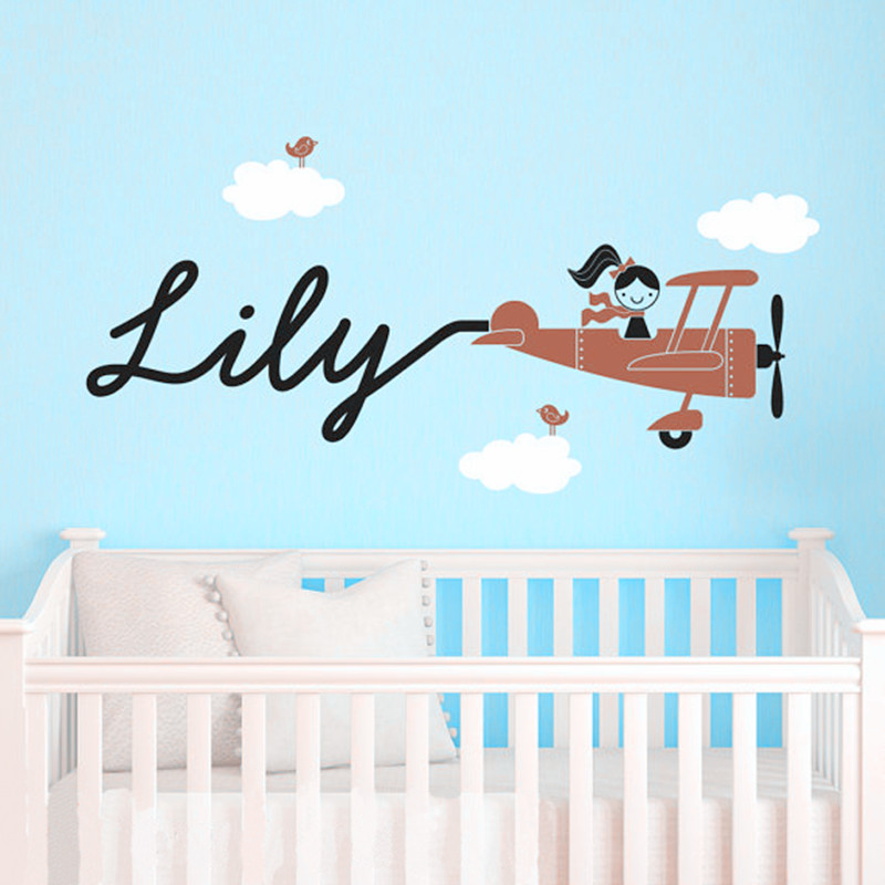 Aliexpress.com : Buy Baby Bedroom Wall Art Decor Airplane, Clouds, Birds  And Personalized Name Decals DIY Home Decorations Three Color Combinations  From ...