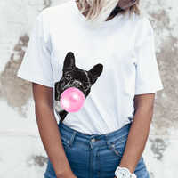 Забавная женская футболка в стиле хип-хоп с круглым вырезом и французским бульдогом, крутая брендовая майка в стиле Харадзюку 80 s, забавные Т...