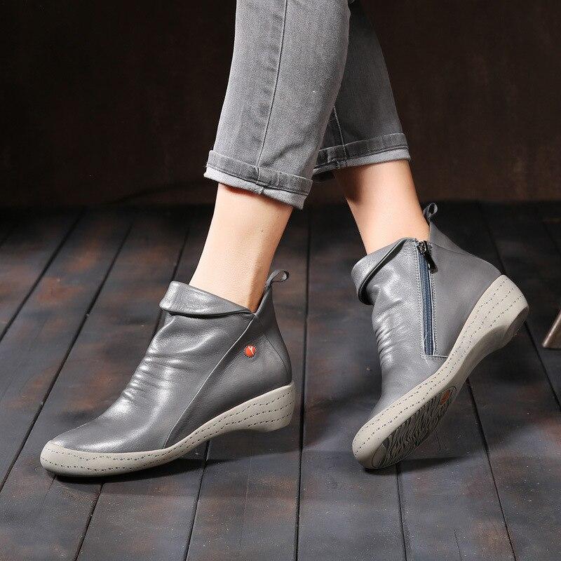 VALLU 2018 nuevo Otoño Invierno zapatos de cuero genuino mujeres botas plisadas de tacón bajo botas de piel de vaca-in Botas hasta el tobillo from zapatos    2