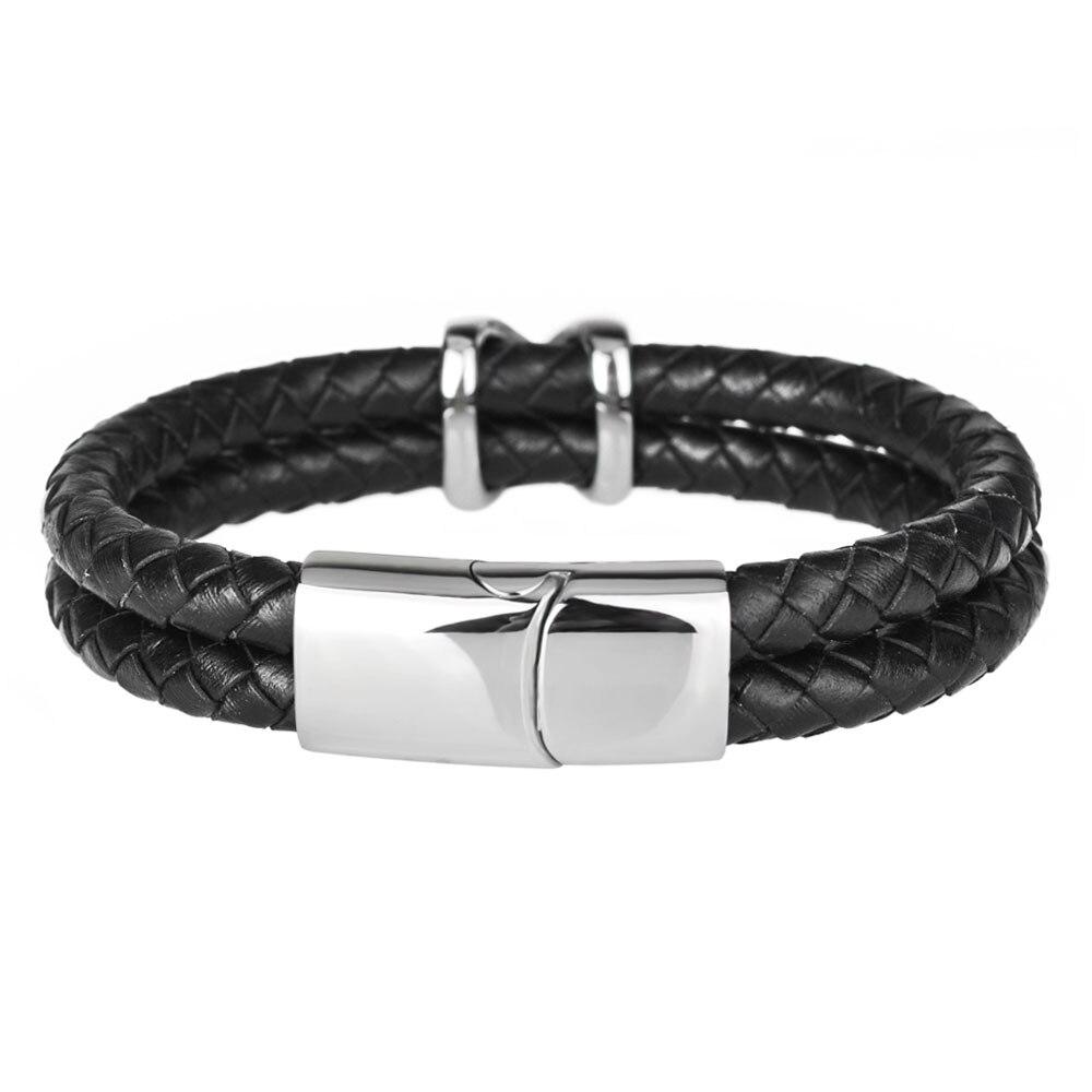Kirykle style minimaliste croix acier inoxydable Bracelets bijoux religieux aimant fermoir multicouche tressé bracelet en cuir 4