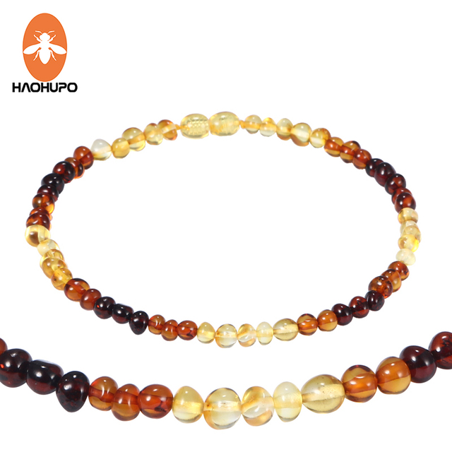 HAOHUPO Amber Bracelet/ Necklace for Baby Teething Jewelry Natural Amber Beads W