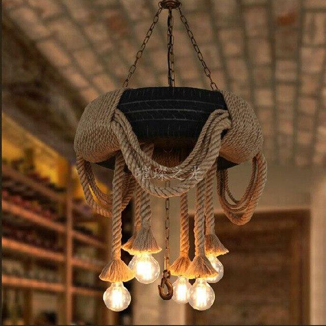 American country industrial hemp tire chandelier creative personality living room chandelier restaurant Cafe Retro decorative li