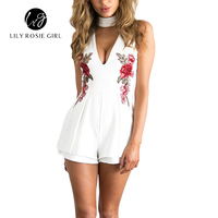 2016 Autumn Elegant V Neck Rose Florla Embroidery Women Playsuits Sleeveless White Winter Rompers Jumpsuits Casual