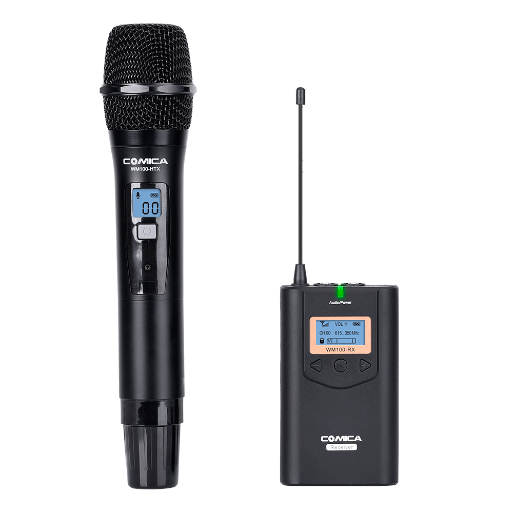 COMICA 48 frequency Professional Multiple Channels 100m Working Distance omnidirectional UHF Wireless Lavalier Microphone bardl us 132 2 channels uhf infrared frequency lcd 200 frequency adjustable wireless microphone handheld lavalier headset