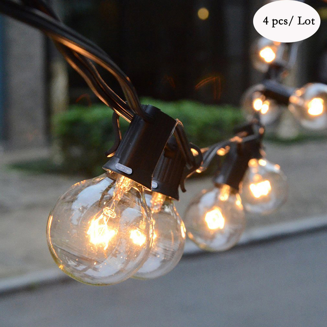 CE UL Certification Globe String Lights with 25 G40 Bulbs Holiday Christmas Festival Party Wedding Garden Lights String Black