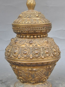 "9"" marked tibet pure brass Auspicious Eight treasures Tanks Crock pot Jar Jug"