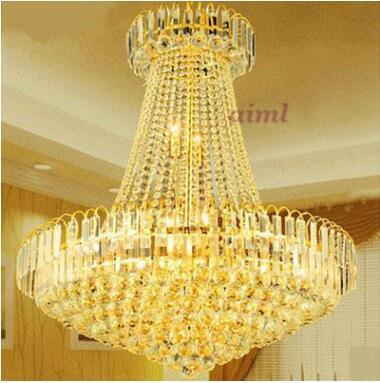 LED 31W- 40W Modern European Round S Golden Crystal Sitting Room Dining-room Lamp Droplight Stairs 220-240V @-9 modern ring chandelier crystal light stainless steel led lamp of the sitting room dining room lamp droplight on three floors