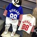 Мода хлопок лоскутное Мальчиков футболки для детей футболка с длинным мальчики рукав футболки для детей блузки и топы детские костюмы розничная