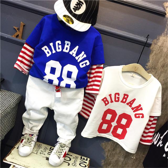 Remiendo del algodón de moda camisetas de Los Muchachos para niños camiseta larga muchachos de la manga de la camiseta para los niños de la blusa y tops traje del bebé venta al por menor