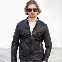 2017 New Genuine Leather Men Jacket Black Stand Collar Real High Quality Sheepskin Slim Fit Men Casual Winter Coat FREE SHIPPING