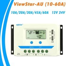 EPever 60A 45A 30A 20A 10A ソーラー充電コントローラ 12 V 24 V 自動バックライト Lcd ソーラーパネルレギュレータデュアル USB ViewStar AU シリーズ