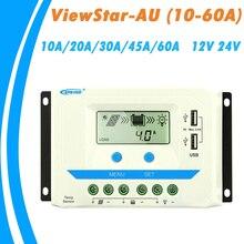 EPever 60A 45A 30A 20A 10A מטען סולארי בקר 12 V 24 V אוטומטי תאורה אחורית LCD פנל סולארי רגולטור כפול USB ViewStar AU סדרה