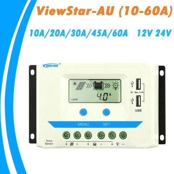 EPever 60A 45A 30A 20A 10A Solar Charger Controller 12V 24V Auto Backlight LCD Solar Panel Regulator Dual USB ViewStar-AU Series