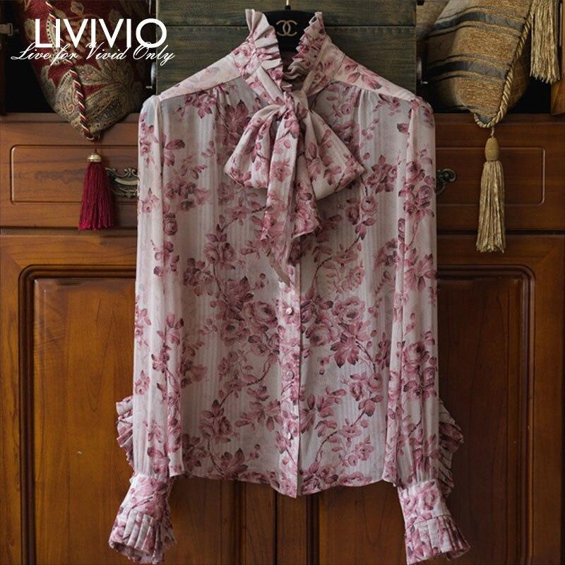 [LIVIVIO] Chiffon Print Blouse Female Lantern Long Sleeve Turtleneck Lace Up Tops Women With Tank Spring 2019 Ruffle Shirts