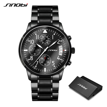 цена на SINOBI Men Waterproof Stainless Steel Luxury Pilot Wrist Watches Chronograph Date Sport Diver Luminous Quartz Watch Montre Homme