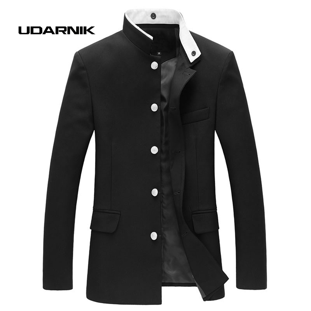 Men Black Slim Blazer Jacket Chinese Style Tunic Suit Long Sleeve Stand Collar Japan School Uniform Coat New 047-4842