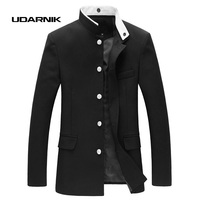 Men Black Slim Blazer Jacket Chinese Style Tunic Suit Long Sleeve Stand Collar Japan School Uniform Coat New 047 4842
