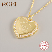 цены ROXI Fashion Gold Peach Heart Pendant Necklace White Cubic Zirconia Necklace for Women Gift Genuine 925 Sterling Silver Necklace