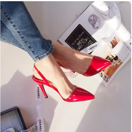 Sexy Point Toe Patent Leahter High Heels Pumps Shoes 2017 Newest Woman's Red Sandals Heels Shoes Wedding Shoes 9cm 35-41 Size