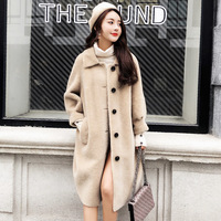 2018 new long Patchwork Fur dress real wool coats winter Thick High quality winter coat women Lamb Fur coats loose siut 90KG