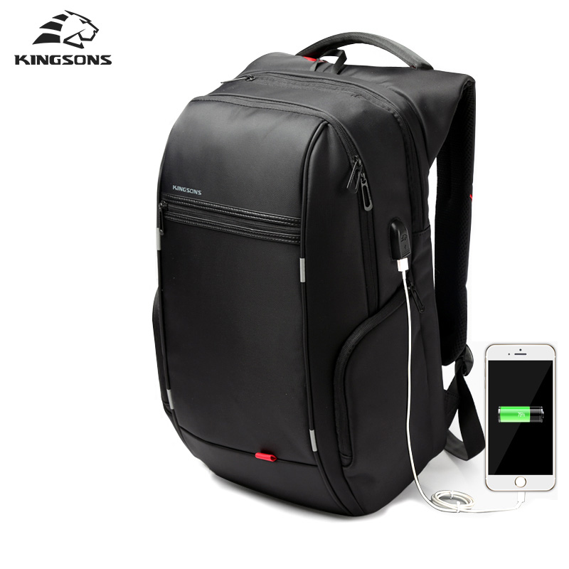 Kingsons Brand External USB Charge Computer Bag Anti-theft Notebook Backpack 15/17 inch Waterproof Laptop Backpack for Men Women