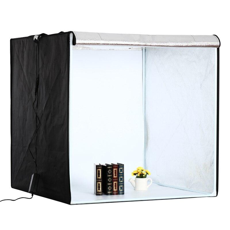 Image 2 - 80 سنتيمتر * 80 سنتيمتر/31.5 بوصة * 31.5 بوصة صور خيمة الجدول التصوير لينة صندوق عدة مصباح ليد انعكاس الألومنيوم النسيج داخلsoft box kitphoto tenttable photography -