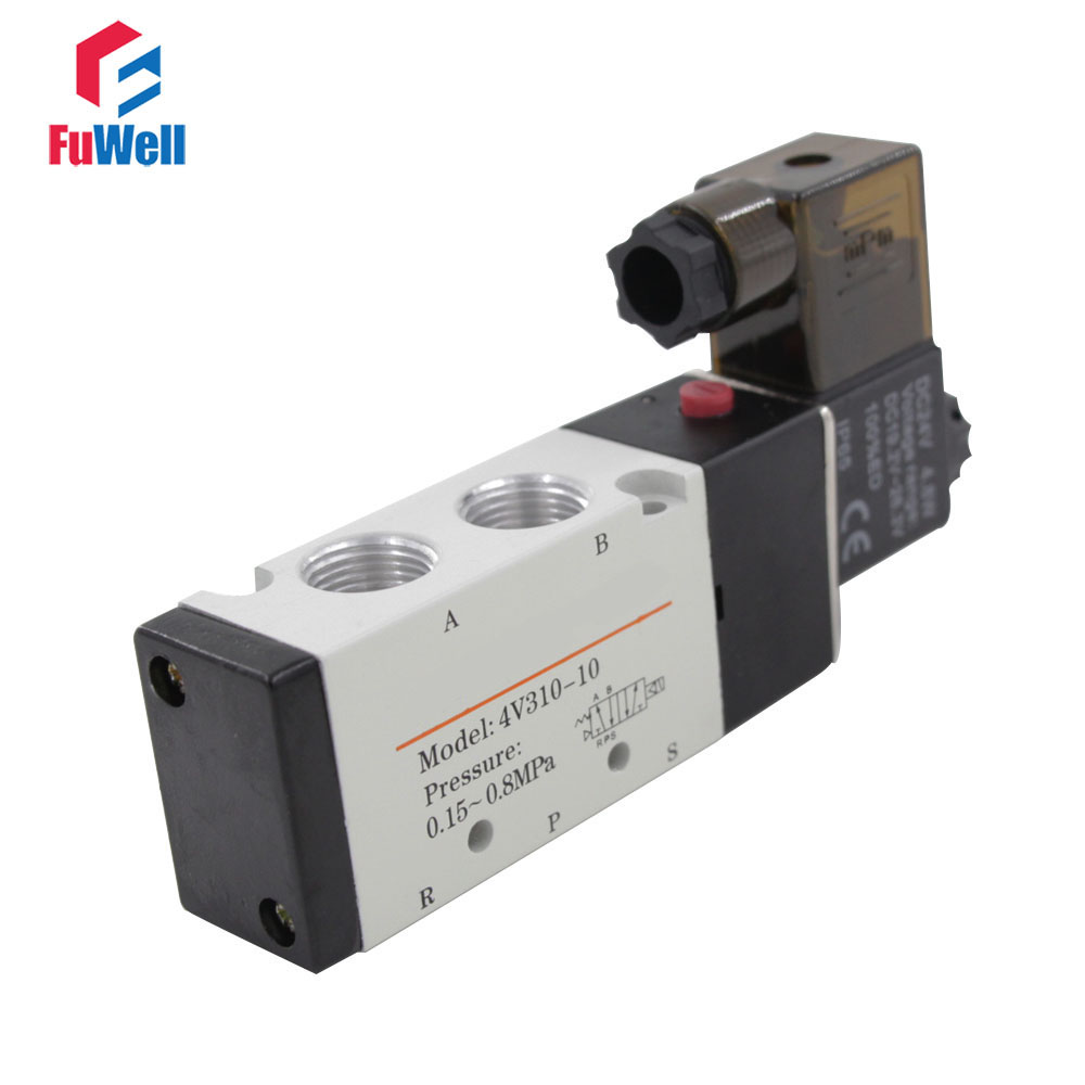 US $12 08 22% OFF|4V310 10 Solenoid Valve DC 24V PT3/8 Pneumatic Valve 5  Port 2 Position Aluminum Alloy Air Valve-in Pneumatic Parts from Home