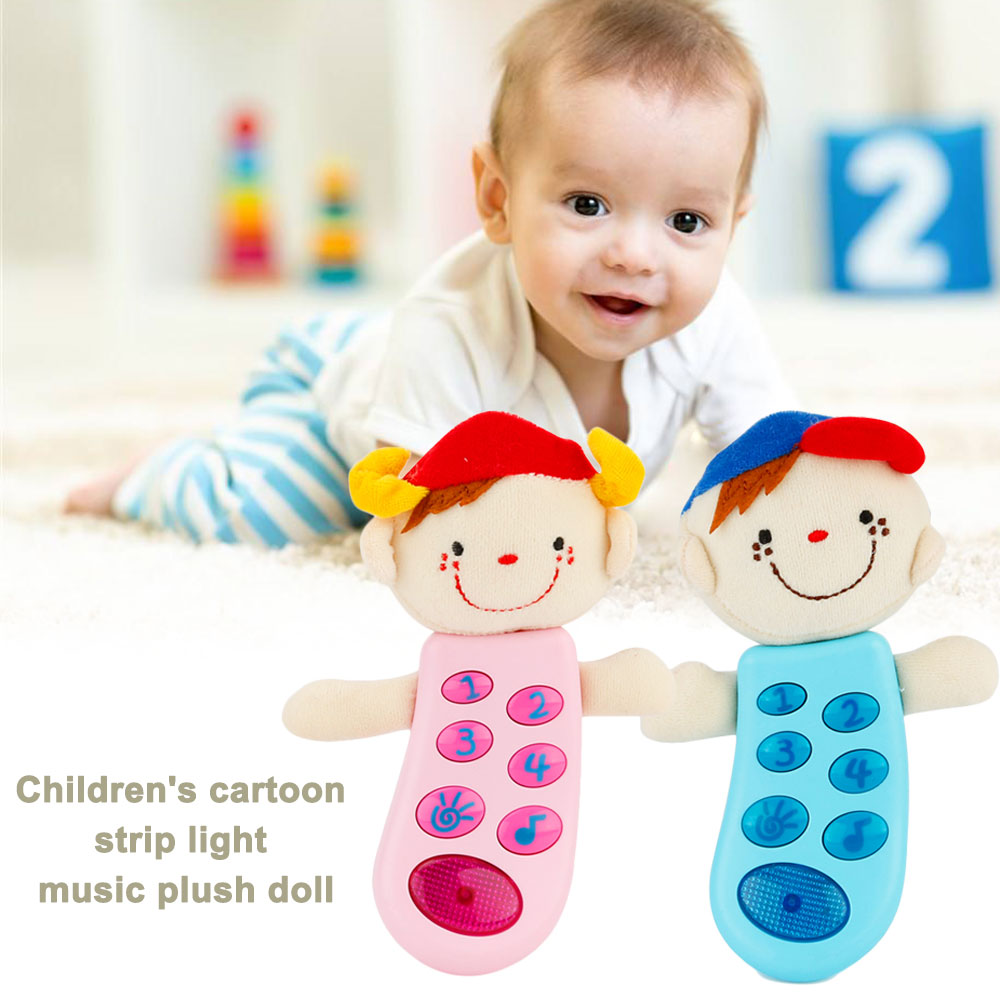 Cute Plush Doll ABS Developmental Educational Rattle Doll Sound Interactive Doll Toy