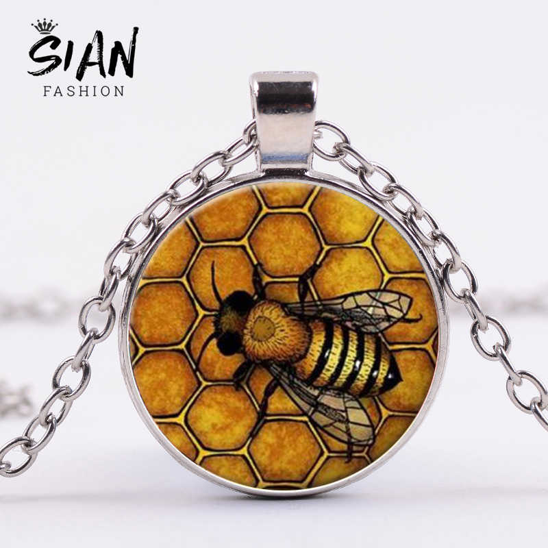 SIAN Insect Gold Bee Necklace Honey Bee Vintage Jewelry Art Picture Glass Cabochon Charm Pendant Women Kids Girls Long Necklace