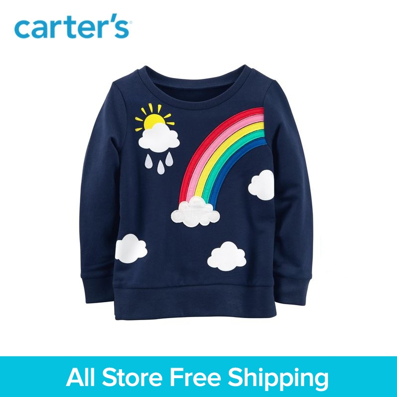 цена на Carter's 1-Piece baby children kids clothing Girl Spring French Terry Rainbow Sweatshirt 253H691/273H685
