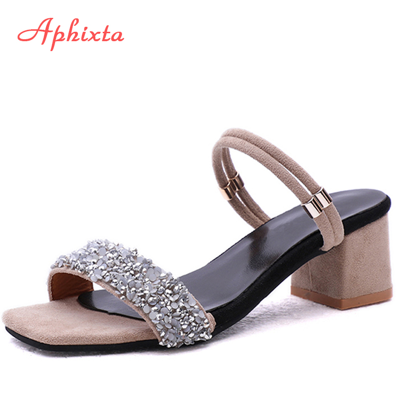 Aphixta Shoes Women Sandals Luxury Crystal Shoes Summer Open Toe Buckle Chunky Heels Rhinestone Slippers Silver Gold Large Size