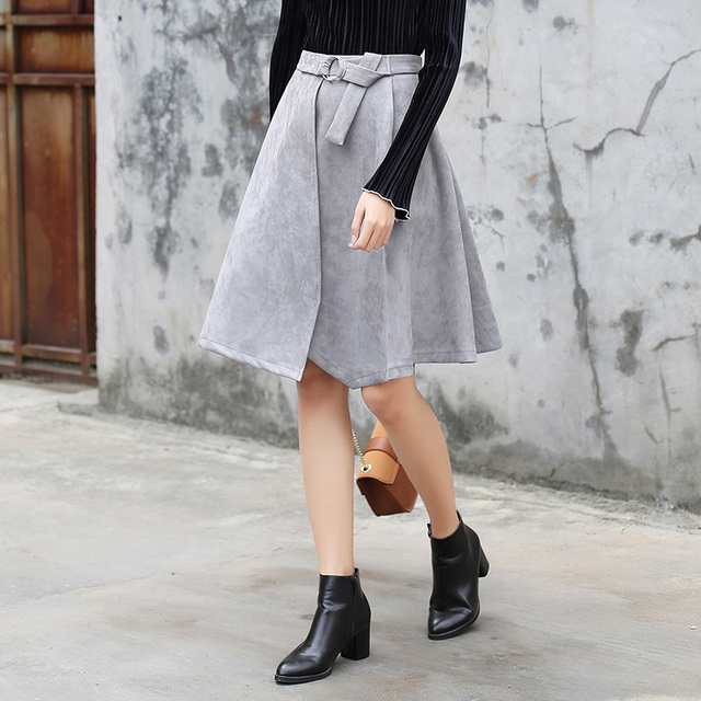 Yichaoyiliang Grey Irregular Patchwork Faux Suede Skirt with Sash Girls Hight Waist A-line Skirt Preppy Style Full Skirt