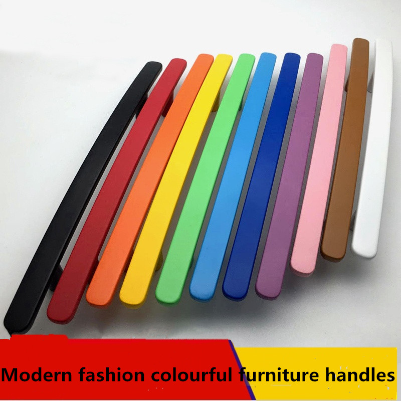 128mm modern fashion colour furniture handle white black blue yellow kitchen cabinet dresser door handle 5' green drawer pull 96mm silver drawer kitchen cabinet handle stain nickel dresser cupboard door pull 128mm modern simple chrome furniture handle