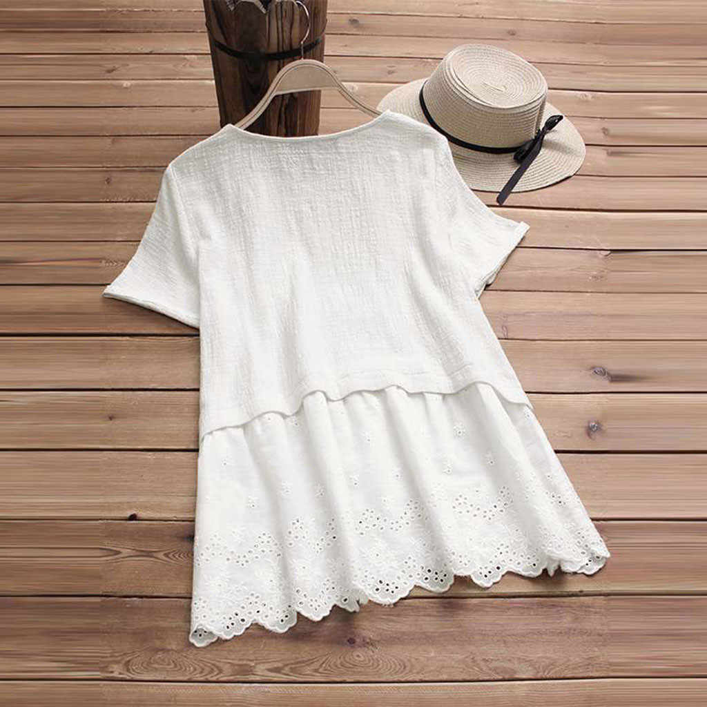 CHAMSGEND Explosive Cotton And Linen Short-Sleeved Stitching Lace Round Neck Dress plus size Summer maxi Dresses C3058