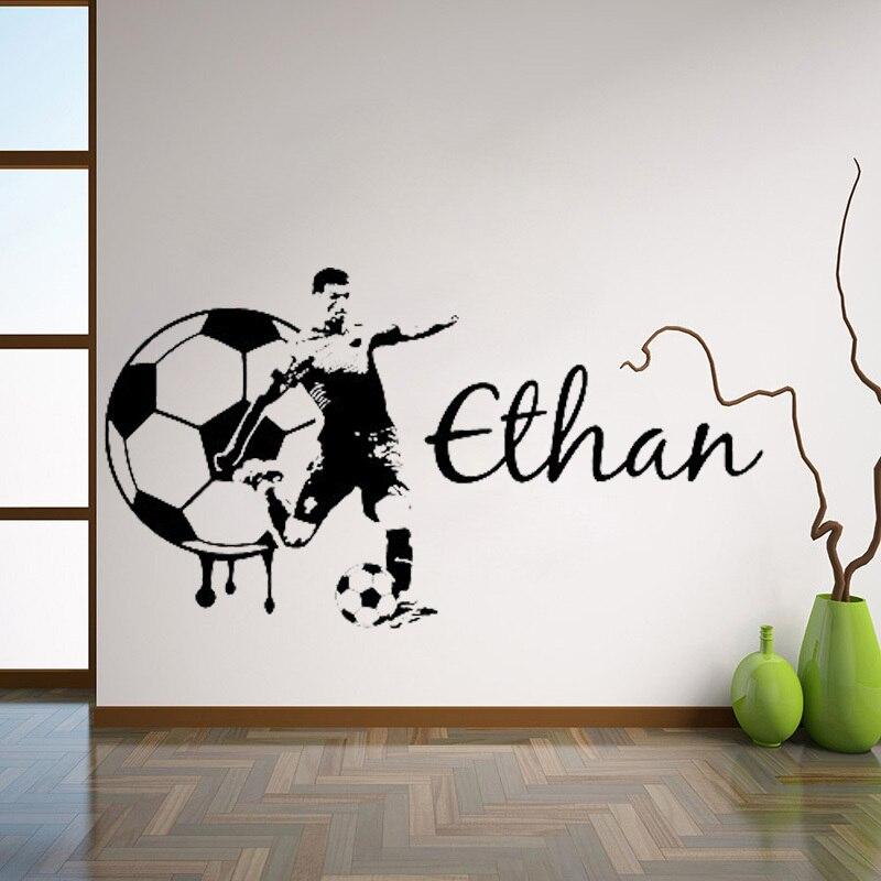 Voetbal Custom Naam Grote Voetbal muur art sticker vinyl sticker Voor - Huisdecoratie