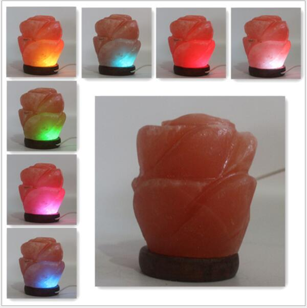 Himalayan Flower Salt Lamp 220V ,USB  Night Lamp For Bedroom ,car,Can cleaning air freeshipping oygroup mini hand carved natural crystal himalayan salt lamp night light cylinder shaped illumilite lamp salt light oy17nl02