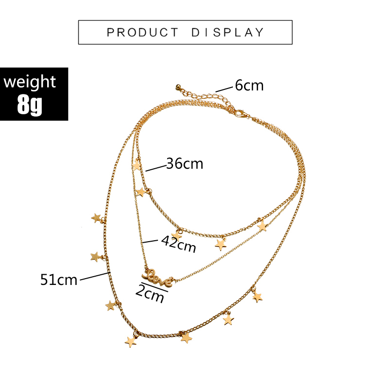 HuaTang Star Moon Pendant Necklace Boho Geometric Crystal Layered Necklaces for Women Girl Waterdrop Opal Collar Choker Jewelry 4