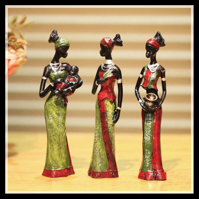 3pcs/set Green Exotic Tribal African Girl  Resin Figurines  Decorative Crafts Ornaments Home Decoration  Accessories Statue Gife