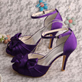 Wedopus Bow Tie Purple Satin Sandals High Heels Ankle Strap Women Shoes Bridesmaid