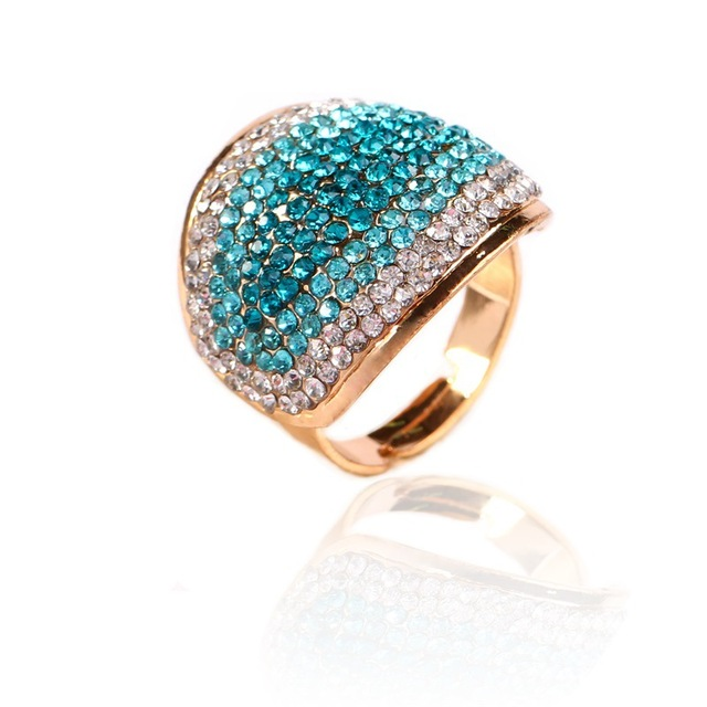 2018 Hot Exaggerated Colorful Rhinestone Statement Large Rings for Women Men Fas