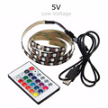 4PIN 5V 1M/2M/3M/4M 60 RGB LED Strip Light Waterproof/Non Waterproof 5050 SMD TV Back Lighting Kit With USB 24 Key Remote