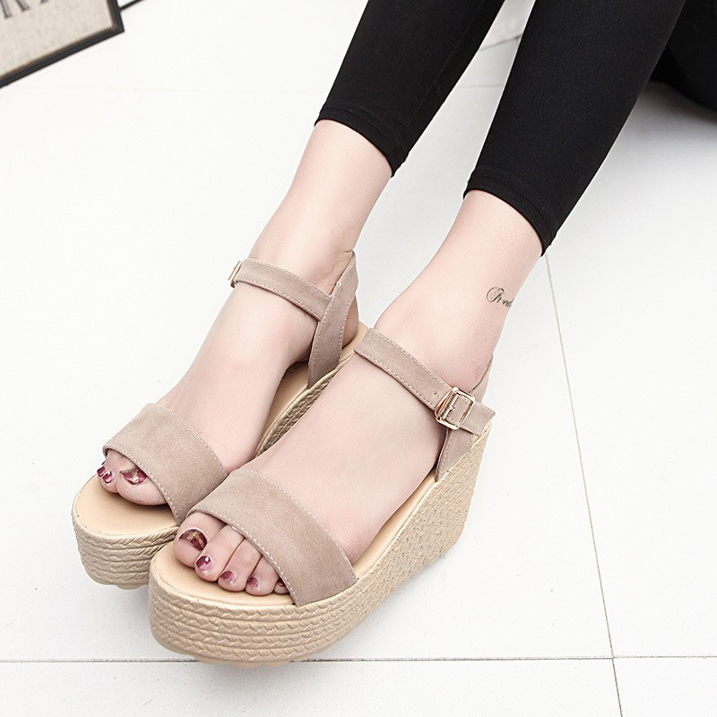 2016 new summer women wedges sandals Thick Soled Shoes Solid 4 colors open toe Women Ladies Sandals HSD06 (2)