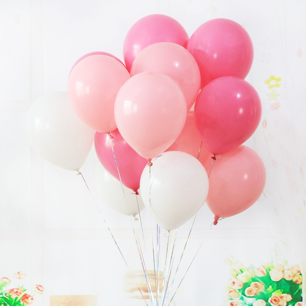 100pcs / lot 10 inch 2.2g latex balloon helium round balloon 15 color matte pear