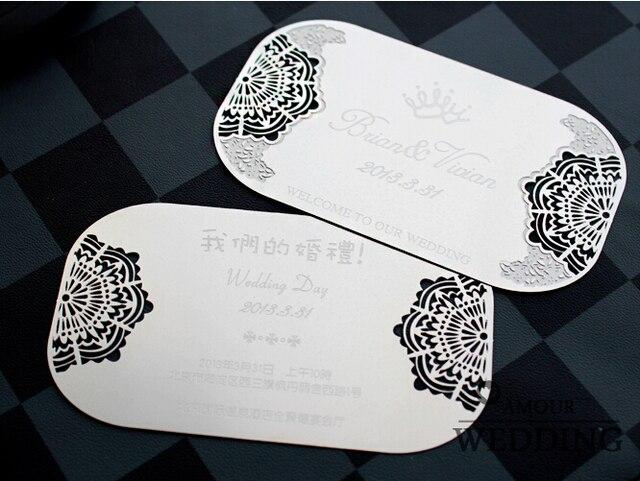 100pcs Lot Silver Wedding Invitation Creative Card Metal Invitations Cards Supplies Customized Printing