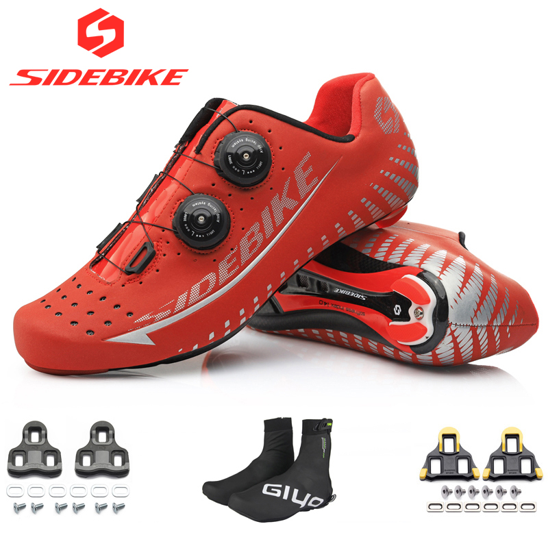 2019 sidebike carbon shoes road bike for SPD KEO red 3M reflective cycling shoes men bicycle