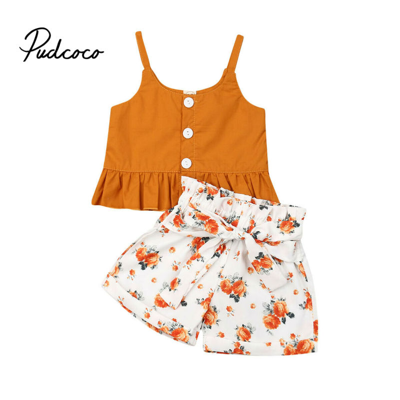 Summer Baby Girls Clothes 2019 Brand New Fine Strap Floral Bow-knot Belt Girls' Clothing Sets Tops+Shorts 6M-4Y 80-120