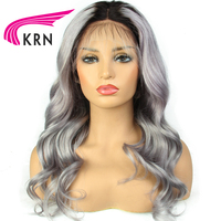 KRN Ombre 1B/Grey Color Brazilian Lace Front Wigs With Baby Hair 8 24 Inch Remy Body Wave Lace Front Human Hair Wigs For Women